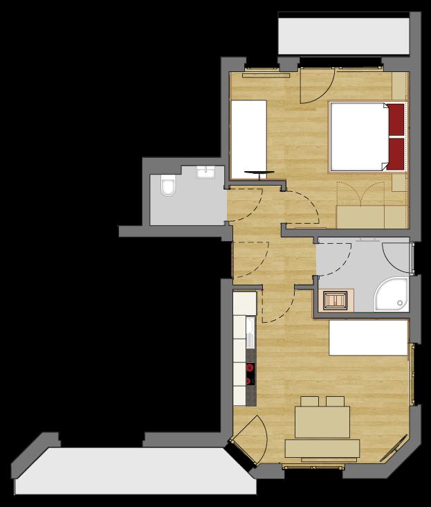 Grundriss vom Appartement Typ 1 des Vital Sport Hotel Kristall