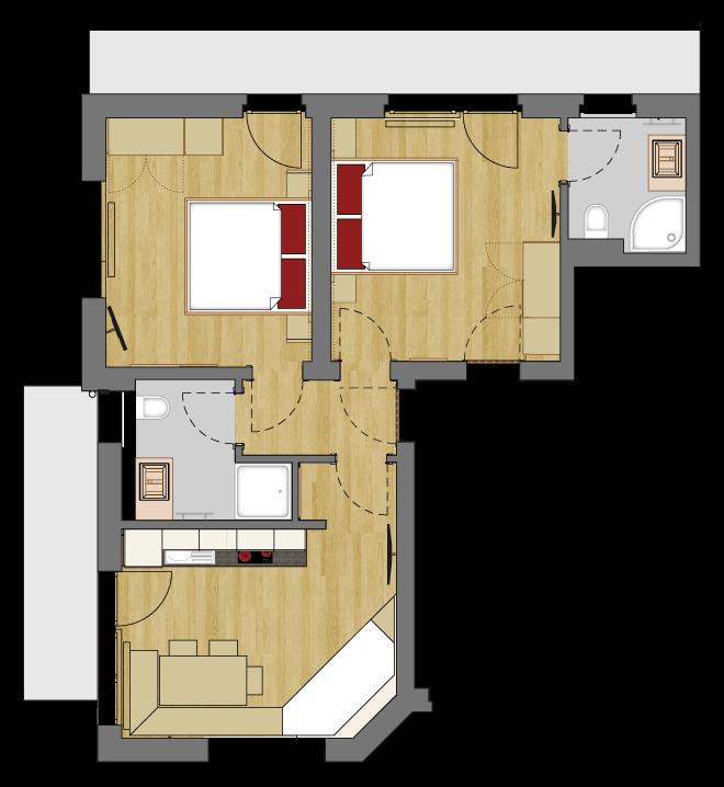 Grundriss vom Appartement Typ 2 des Vital Sport Hotel Kristall