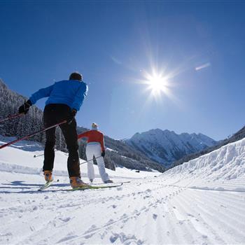 Zwei Skater auf der Loipe bei strahlendem Sonnenschein