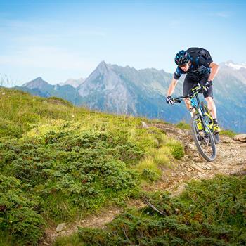 Mountainbiker auf Singletrail in den Bergen