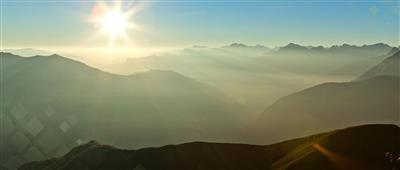 Panoramic mountain view at bright sunshine