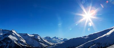 Panoramic view of the Zillertal Alps in the winter