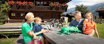 Glückliche Familie mit zwei Kindern auf einer Alm in den Bergen